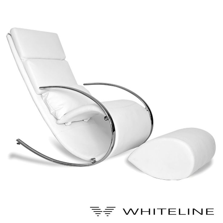 Whiteline Chloe is a #rockerchair in black, brown, gray, red, or white leatherette cover with chrome frame. Includes ottoman. #rockingchairs Available at allmodernoutlet.com