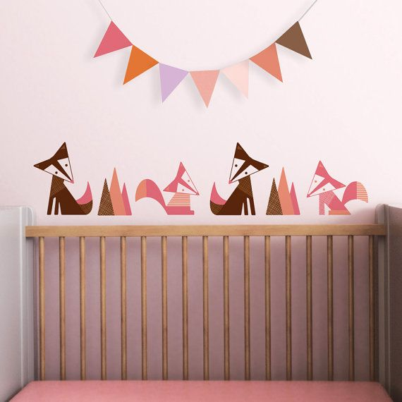 Modern Kids Wall Decal and Baby Nursery Wall Decal in Custom Colors. Foxes Children Wall Decal