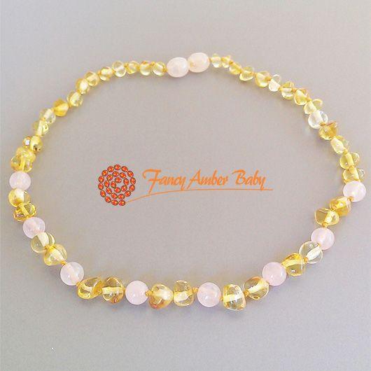 Fancy Amber Baby - Lemon Amber with Rose Quartz Necklace