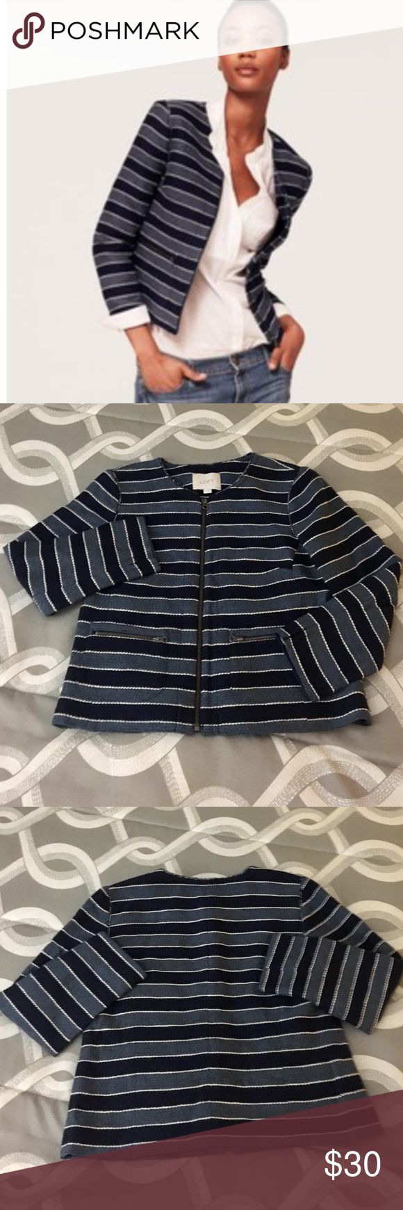 "NWOTs LOFT ""Boucle"" Jacket NWOTs LOFT ""Boucle"" Cardigan Jacket.  Classy blend of blue and white horizontal stripes.  Zip up front closure.  When lying flat, Bust is 16"".  Sleeve is 20"" & Length of jacket is 20"".  Size 2P. LOFT Jackets & Coats Blazers"