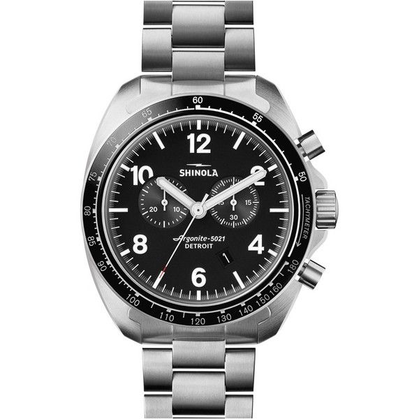 Shinola 'Rambler' Chronograph Bracelet Watch, 44Mm (44,930 THB) ❤ liked on Polyvore featuring jewelry, watches, chronograph wrist watch, dial watches, rugged watches, chronograph watch and watch bracelet