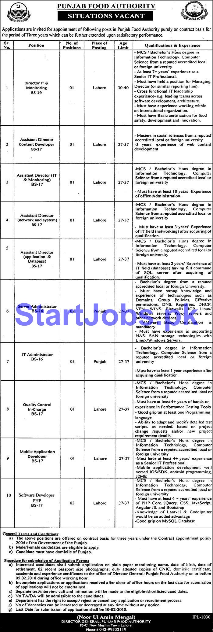 Punjab Food Authority Jobs PFA 2018 for For Director