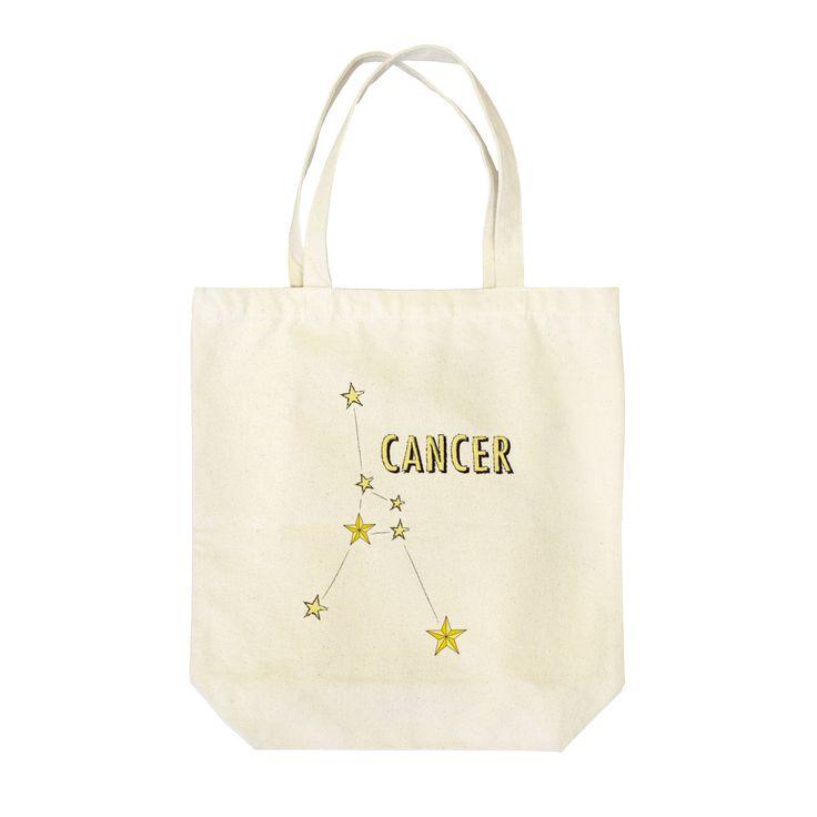 Star studs zodiac sign print Tote bag (Cancer) by Tomoko Miyagami 星スタッズの星座トートバッグ(蟹座)