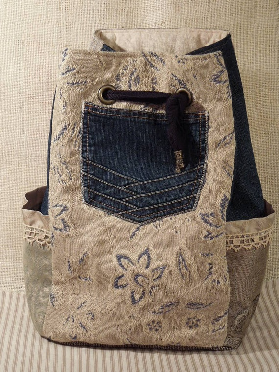 Boho Backpack Gypsy Large Sling Bag Denim Bag by WhimsyEyeDesigns, $68.00