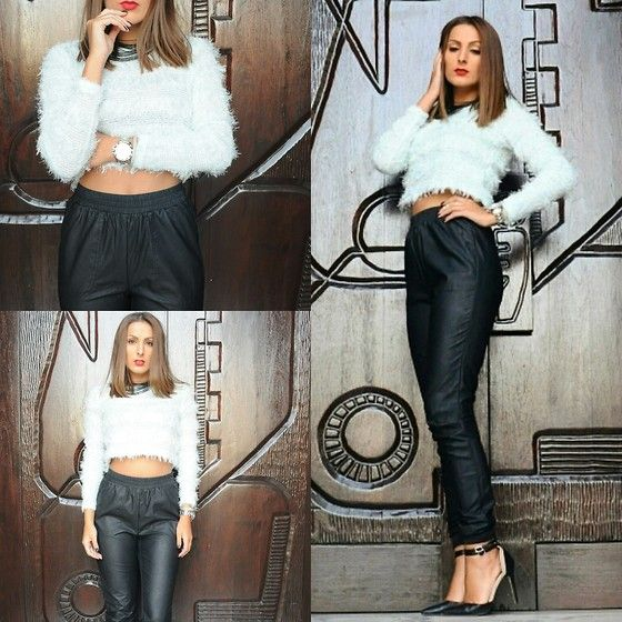 Get this look: http://lb.nu/look/6558612  More looks by Paola Nicola: http://lb.nu/madeinjozi  Items in this look:  Primark Heels, Factorie Leather Pants, Factorie Cropped Sweater, Karl Lagerfeld Watch