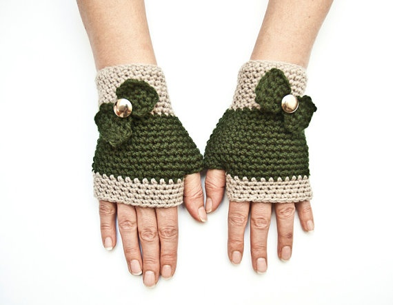 Khaki green fingerless gloves mittens with bowmother's by fatoss, $20.00