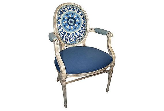 Free Shipping Blue White Tribal Suzani French By OrangeNolive, $855.00 · Upholstered  ChairsFrench ...