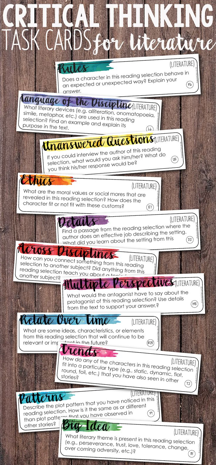 Add depth and complexity to your instruction with these Critical Thinking Literature/Reading Task Cards. These task cards are perfect for any fiction reading materials: novels, short stories, anthologies! Prepare to hear some amazing discussion in your classroom! $