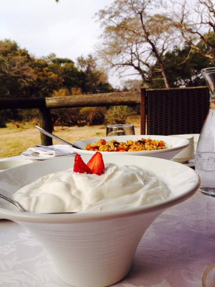Breakfast at Tintswalo Safari Lodge, always begins with our custom made muesli, and rich yoghurt.