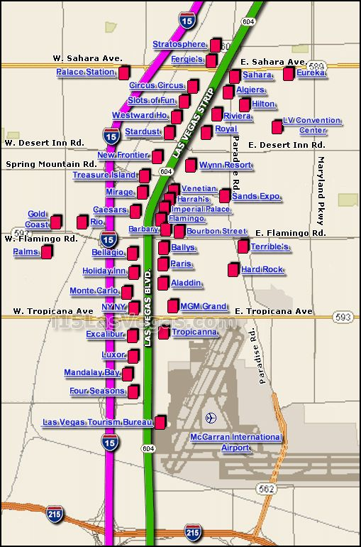 Map Of Los Vegas Strip  MAP