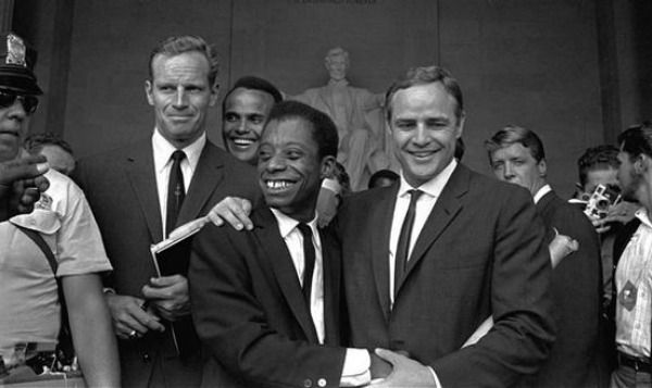 Hollywood Who's Who Marched With King in '63.  50th anniversary of the March on Washington are already fading from memory, the security barriers at the National Mall have been removed......  Yes that's Charlton Heston next to Harry Belafonte in the background