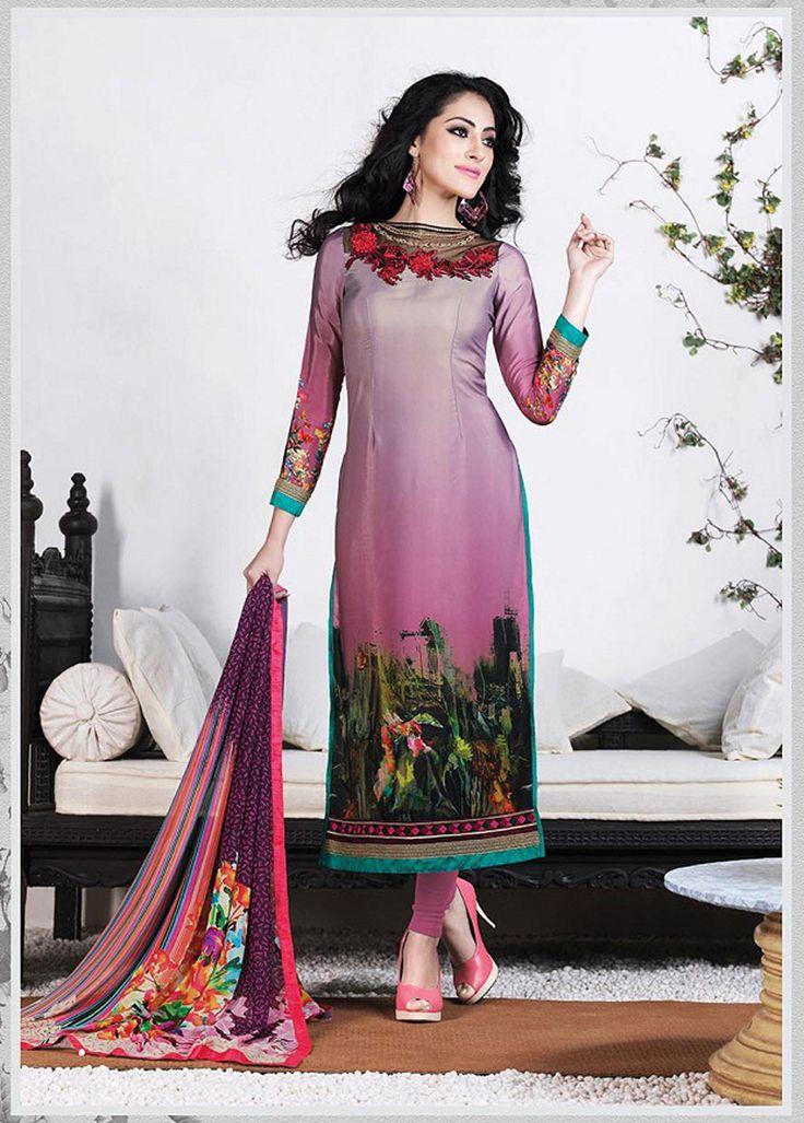 Light Purple Crepe Churidar Suit 61553