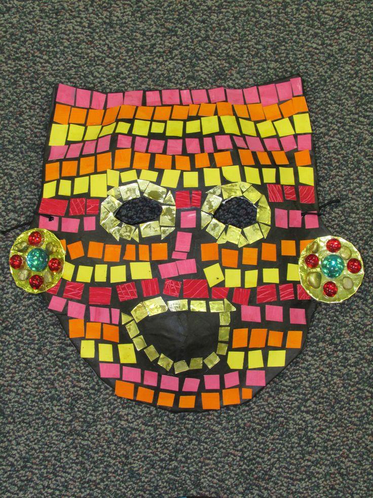 Mayan Calendar Kids : Rd grade paper mache mosaic ancient mayan mask lesson by
