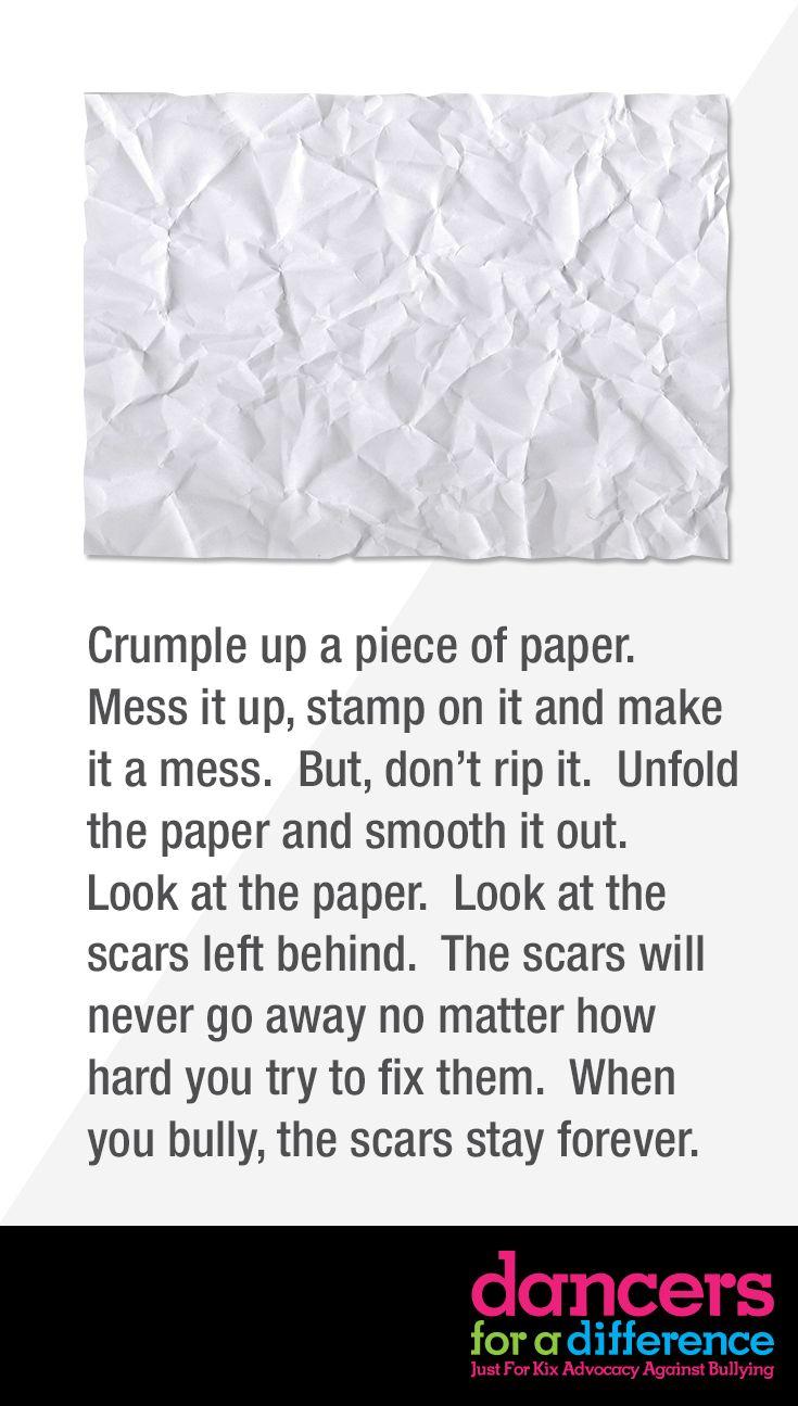 Crumpling up paper. Learn more at: https://www.justforkix.com/dancersforadifference