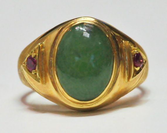 Stunning 14K Jade and Ruby Gents Ring by by EtsyJewelryStore, $950.00