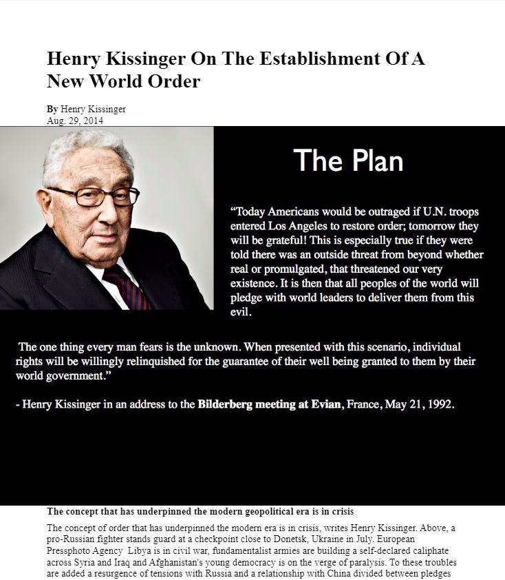 Afbeeldingsresultaat voor Henry Kissinger : Those Who Reject The New World Order Are Terrorists
