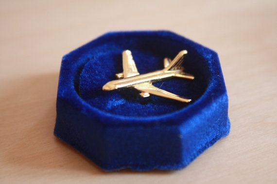 Golden Coloured Aeroplane Malév Pin Badge by AviationStuff on Etsy