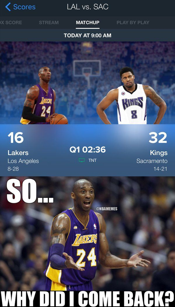RT @NBAMemes: Kobe Bryant is contemplating why he decided to return to the lineup tonight. #LakersKi - http://nbafunnymeme.com/nba-funny-memes/rt-nbamemes-kobe-bryant-is-contemplating-why-he-decided-to-return-to-the-lineup-tonight-lakerski