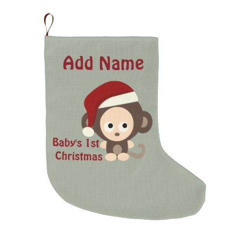 Cute Baby's First Christmas Santa Monkey Personalized  Christmas Stocking