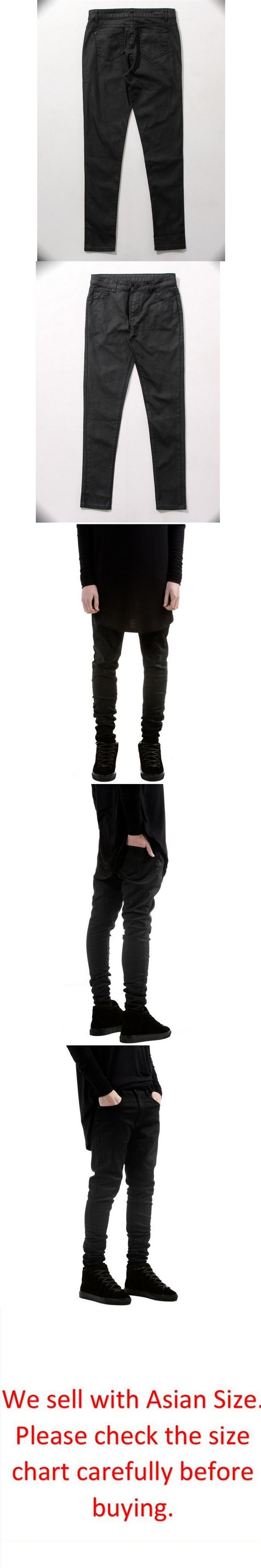 Mens Slim Fitness Skinny Pencil Pants Kanye West High Street Fashion Joggers Solid Black Biker Motorcycle Jeans Plus Size 36