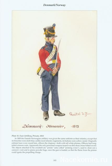 Danemark Foot artillery canonnier 1813
