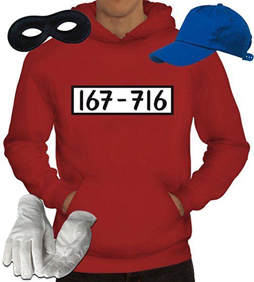 Gangster Kapuzenpullover Kostüm Set für Panzerknacker Fans JGA Karneval Fasching Herren Hoodie+Cap+Handschuhe+Maske, Größe: 3XL,Rot