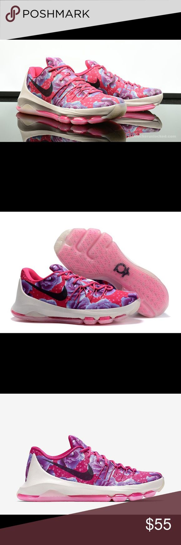 New KD Kevin Durant 8 Premium Floral Aunt Pearl New KD (Kevin Durant) 8 Premium Aunt Pearl. Pink and purple floral shoe. Size 6 Youth, equivalent to size 7.5 Women's. New in box without lid. Nike Shoes Sneakers