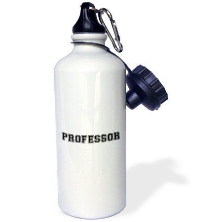 3dRose Professor and proud - Academic gifts - university or college lecturer teacher prof gifts -Black text, Sports Water Bottle, 21oz