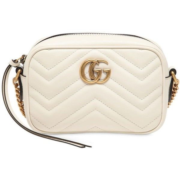 Gucci Women Mini Gg Marmont 2.0 Leather Bag ($805) ❤ liked on Polyvore featuring bags, handbags, shoulder bags, off white, mini purse, gucci handbags, mini shoulder bag, quilted leather purse and quilted handbags