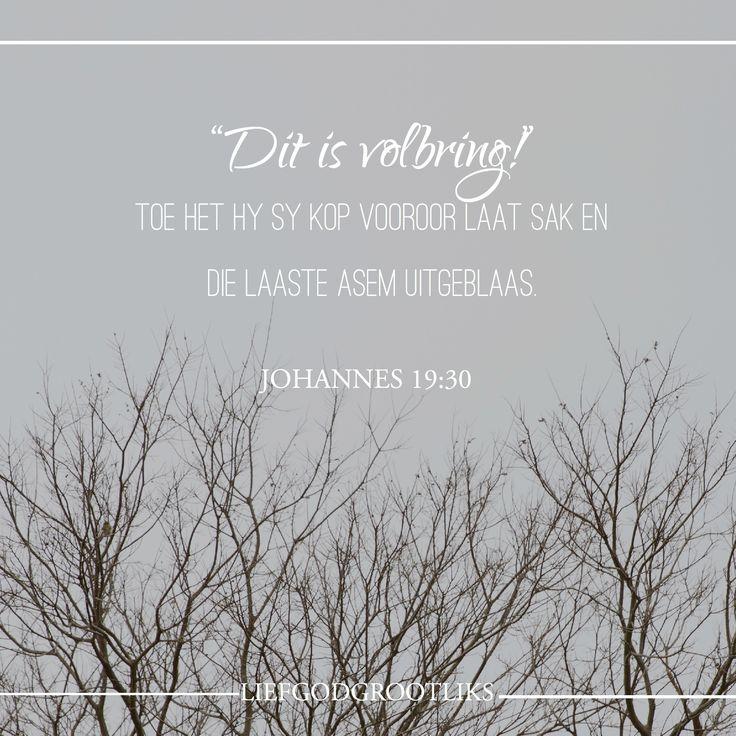 In watter omstandighede betwyfel jy God se gewilligheid en begeerte om jou te red? Vir wie se redding sal jy aanhou om elke dag getrou en vuriglik te bid? Jesus het die volle pyn van die woede van God gedra, maar Hy het ook die fisiese beperkings van menslike lyding ervaar. Jesus het aan die kruis gebly vir ons. Wanneer ons twyfel aan God se liefde vir ons, moet ons Jesus se voltooide verlossingswerk aan die kruis onthou.   Vader God, ek dank U vir Jesus se voltooide werk aan die kruis. Ek…