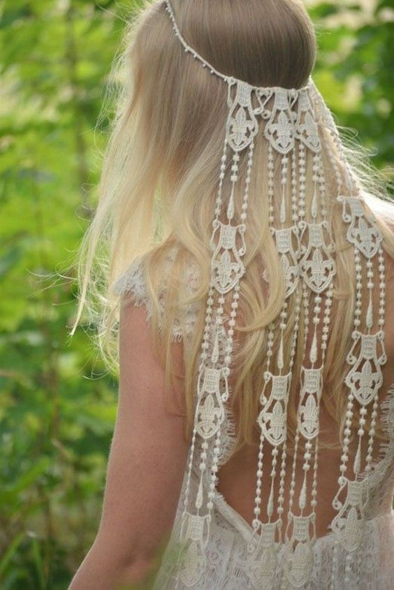 natural and bohemian inspired wedding dresses / http://www.deerpearlflowers.com/boho-macrame-knotted-wedding-decor-ideas/