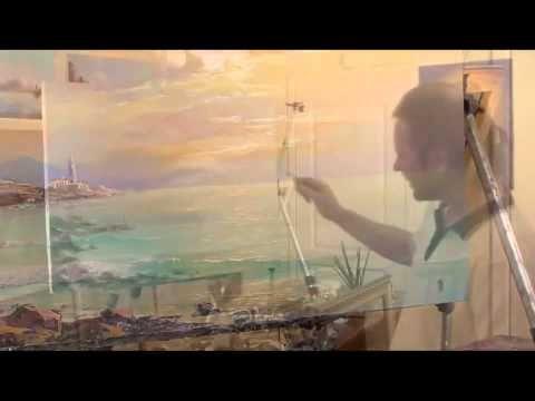 Una lezione di pittura Igor Saкharov_ Tramonto sul mare. - YouTube