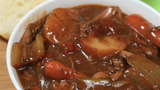 Cook beef, tomatoes, carrots, potatoes, celery, and onion all in the slow cooker for an easy, hands-off dinner.
