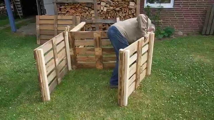 komposter aus europaletten selber bauen garten kompost pinterest. Black Bedroom Furniture Sets. Home Design Ideas