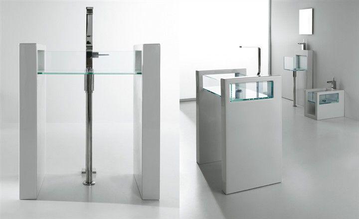 Column washbasin Glass