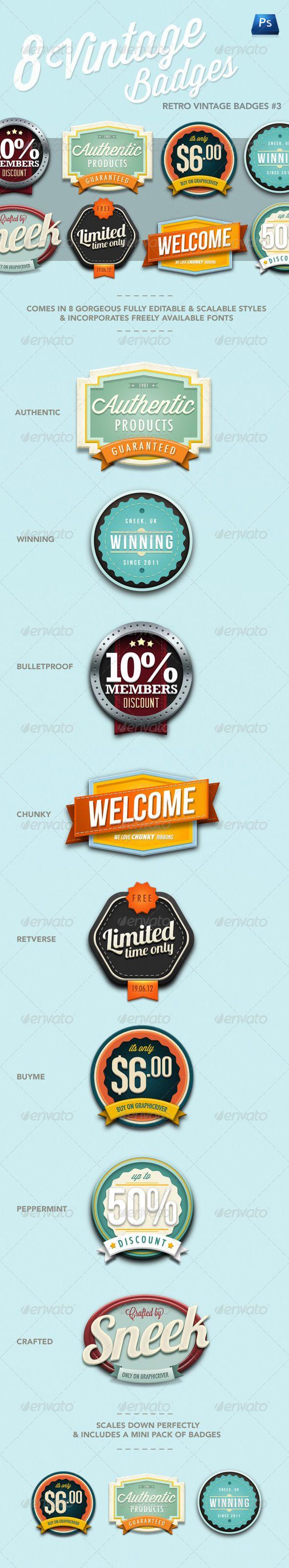Web Elements - Retro Vintage Badges #3   GraphicRiver