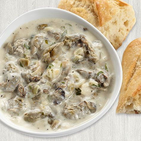 Tasty oyster chowder (sub soy milk for milk and earth balance for butter)
