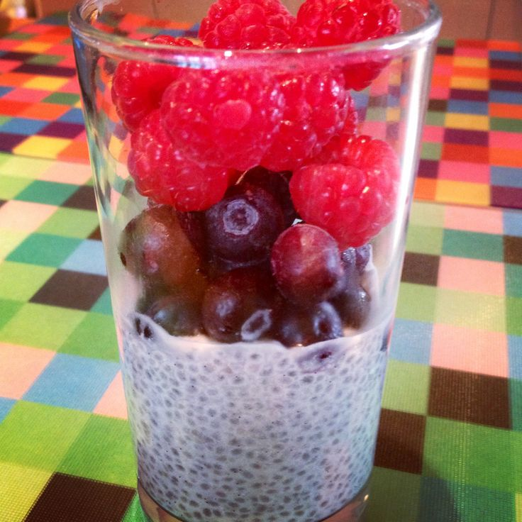 #chia seeds soaked in #coconut milk topped with #berries #healthy #breakfast