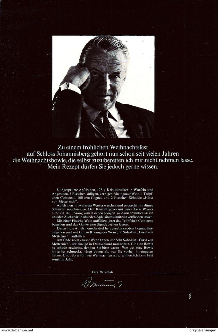 Werbung - Original-Werbung/ Anzeige 1966 - REZEPT WEIHNACHTSBOWLE / SCHLOSS JOHANNISBERG/ FÜRST METTERNICH SEKT - ca. 150 x 230 mm