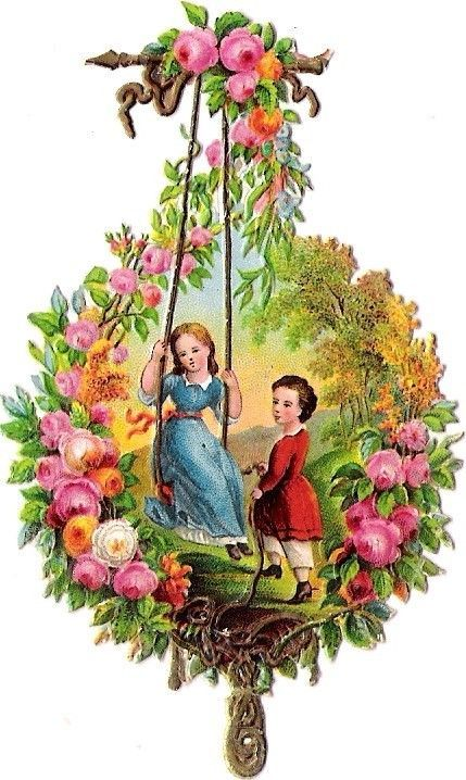 Oblaten Glanzbild scrap die cut chromo Kind child girl couple fille swinging: