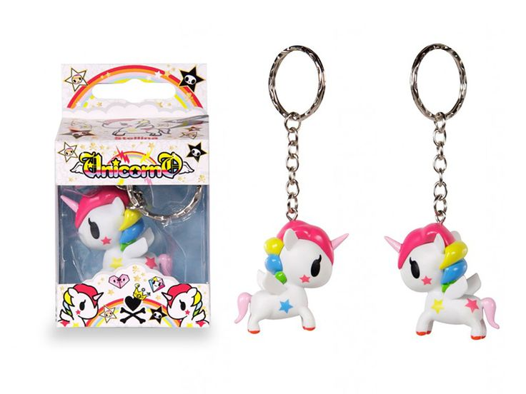 Tokidoki Stellina Unicorno Keychain: Bring Stellina with you wherever you go! Whether attached to your keys or to your bag, this wonderfully detailed mascot keychain is the perfect companion on all your travels. This adorable Stellina mascot keychain makes a great stocking stuffer! Details: – Material: Vinyl – Stellina Mascot measures (approximately): 2″ ; Mascot and keychain ring together measures (approximately): 4.5″