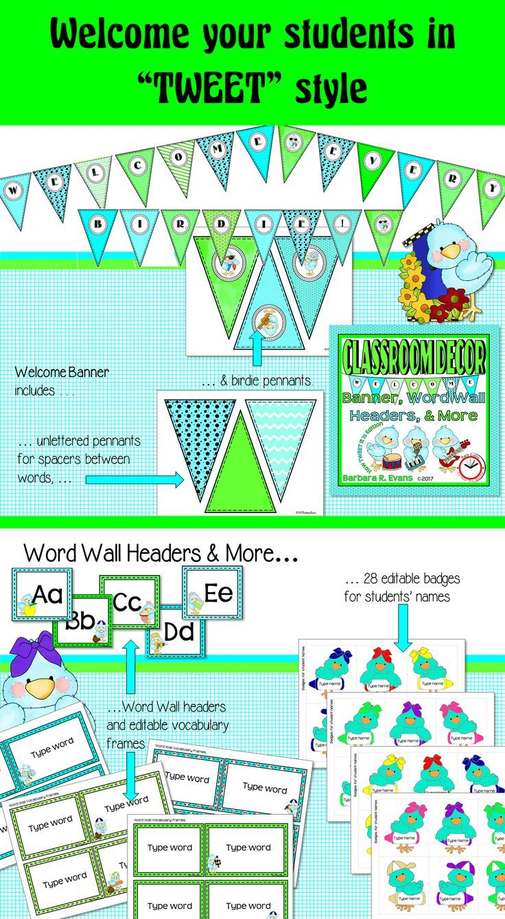 Give your students a TWEET welcome with How TWEET It Is Welcome Banner, Word Wall Headers, and More.