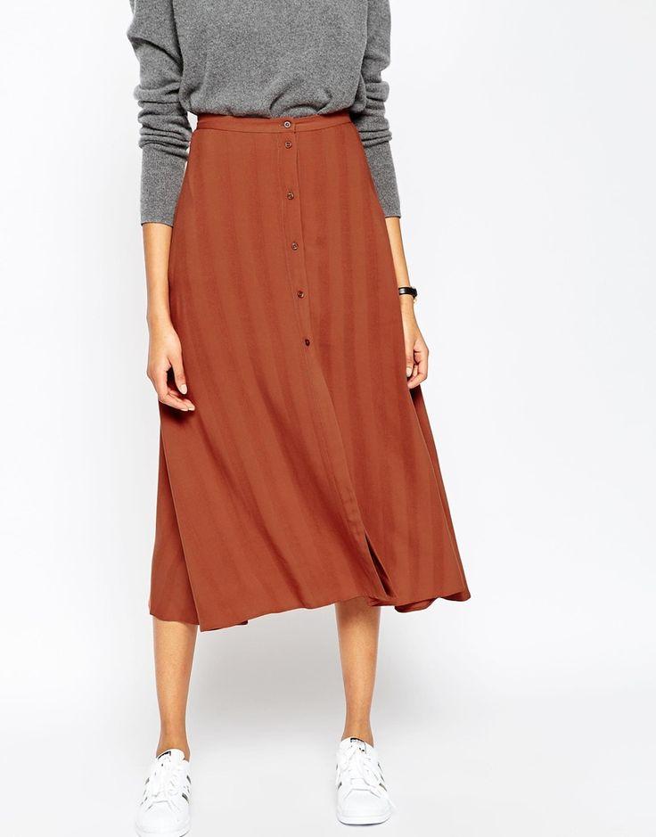 Image 4 ofASOS Midi Skirt with Button Through in Self Stripe
