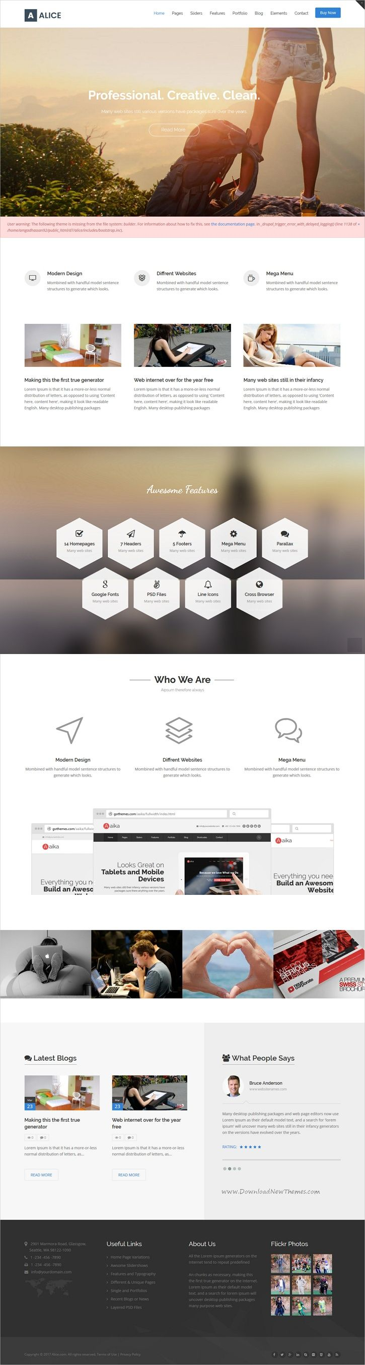 Alice is clean and modern design 14in1 multipurpose responsive #Drupal theme for stunning #corporate website download now➩ https://themeforest.net/item/alice-multipurpose-drupal-theme/19772223?ref=Datasata