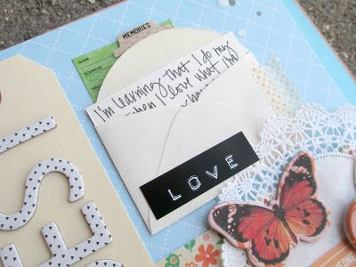 Smash book - love the idea to put note in envelope