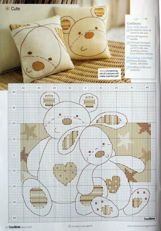 free cross stitch pattern - Teddies