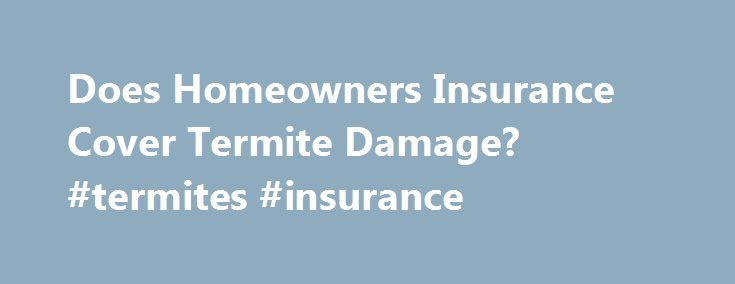 Does Homeowners Insurance Cover Termite Damage? #termites #insurance http://vermont.nef2.com/does-homeowners-insurance-cover-termite-damage-termites-insurance/  # Does Homeowners Insurance Cover Termite Damage? Many homeowners think about calling their insurance agent to file a claim to obtain help financially with the damage those very unwelcome invaders have caused. Now, the bad news . most insurance companies do not cover damage caused by termites. Homeowner Insurance Termite Clauses Many…