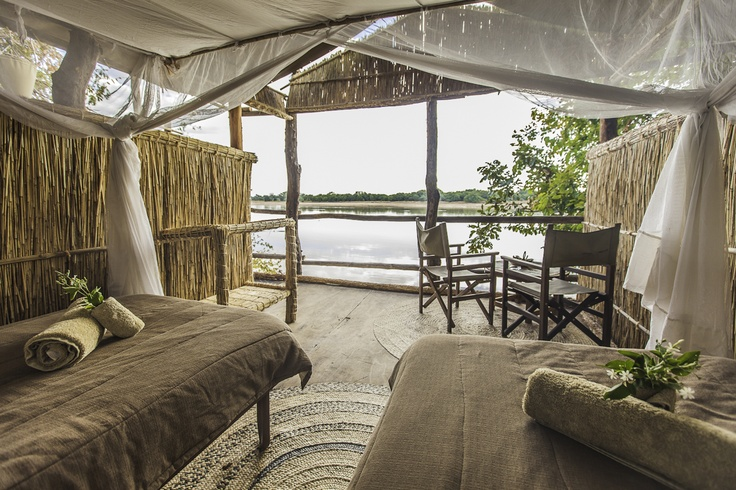 View from an Island Bush Camp chalet, over looking the Luangwa River in the South Luangwa National Park, Zambia.