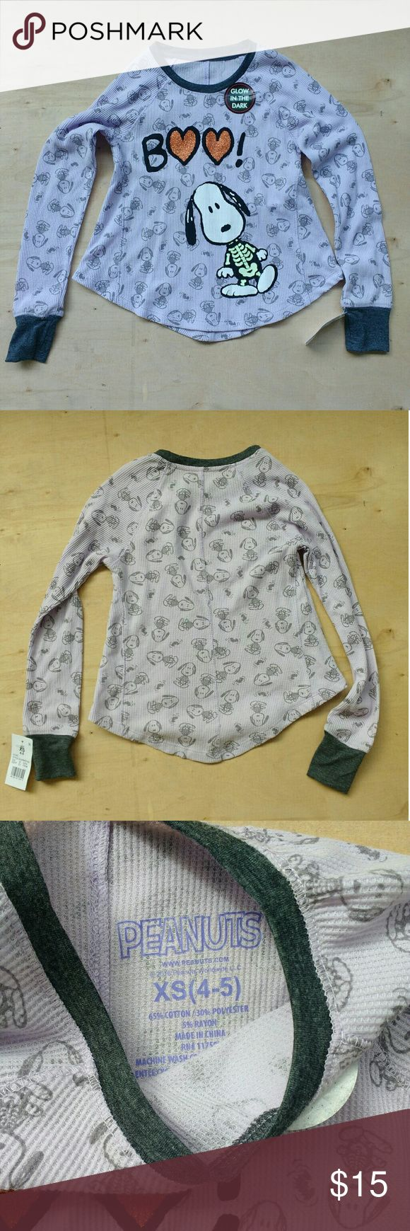 Snoopy Halloween Glow in the Dark Shirt, NWT Peanuts brand Snoopy long sleeve shirt, glows in the dark, new with tags, size XS 4-5 Peanuts Shirts & Tops Tees - Long Sleeve