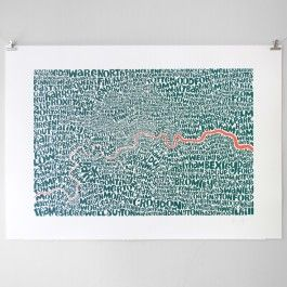 Intricate typographic map showing boroughs of London. Limited edition of 30.